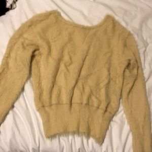 Soft furry open back sweater